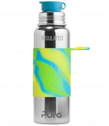 Purakiki Isolierte Sportflasche 600ml Aqua Swirl